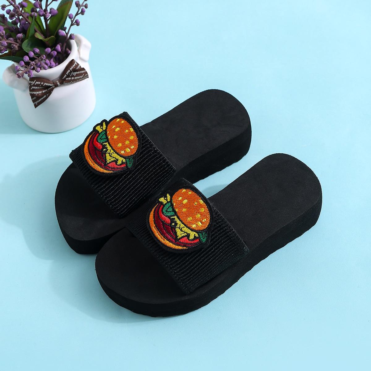 Шлепанцы с вышивкой гамбургера для девочек