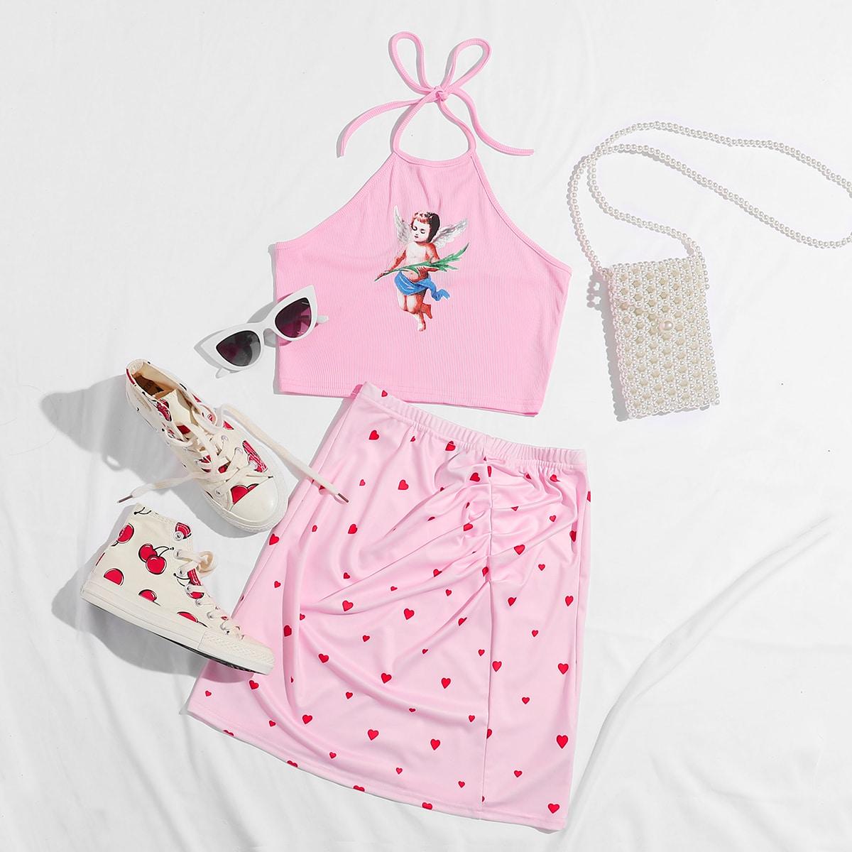 SHEIN / Conjunto top halter con estampado de figura con falda con estampado de corazón