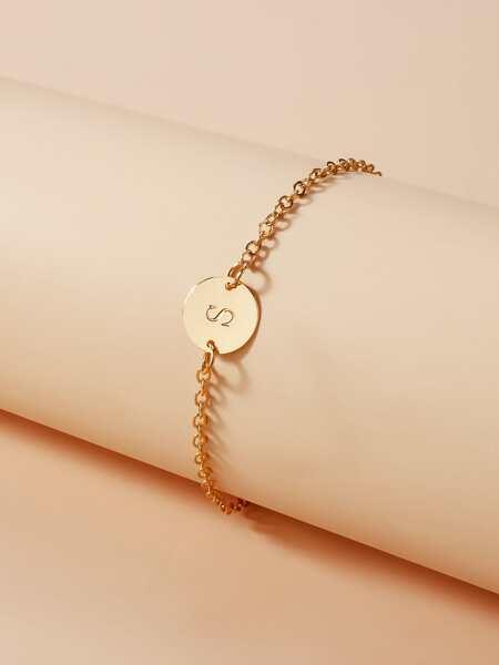 Letter Coin Decor Bracelet