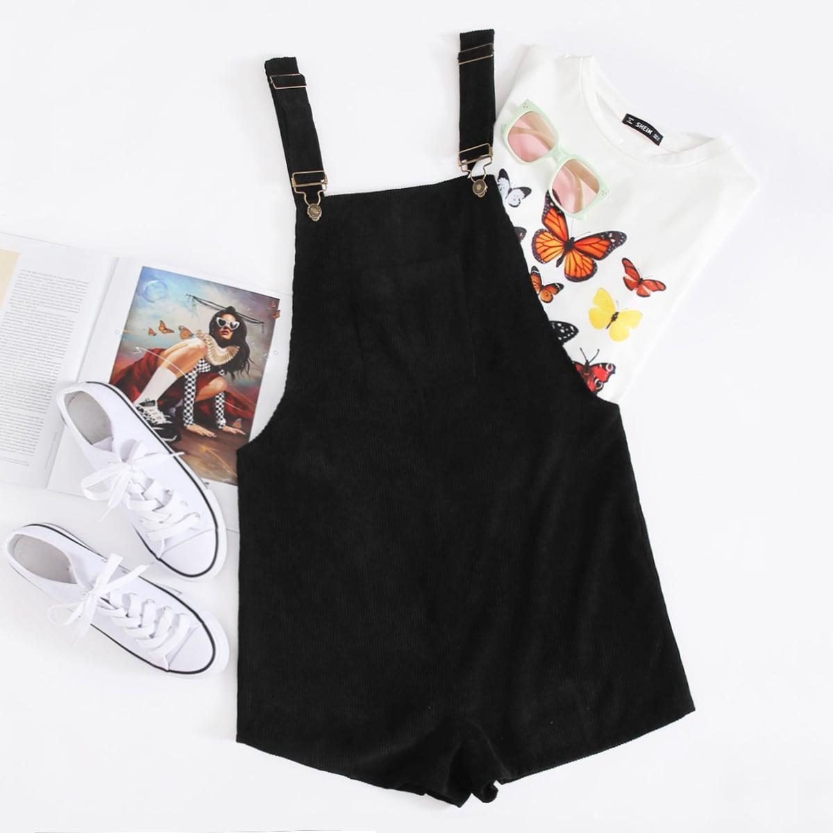 Вельветовые шорты с карманом и регулируемым ремешком от SHEIN