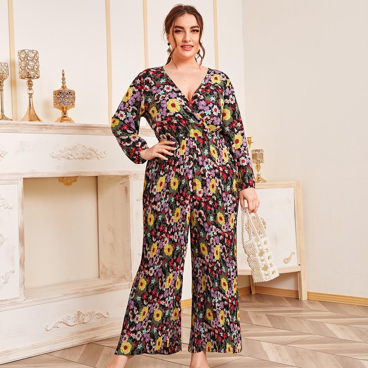 SHEIN / Mono culotte con fruncido con estampado floral