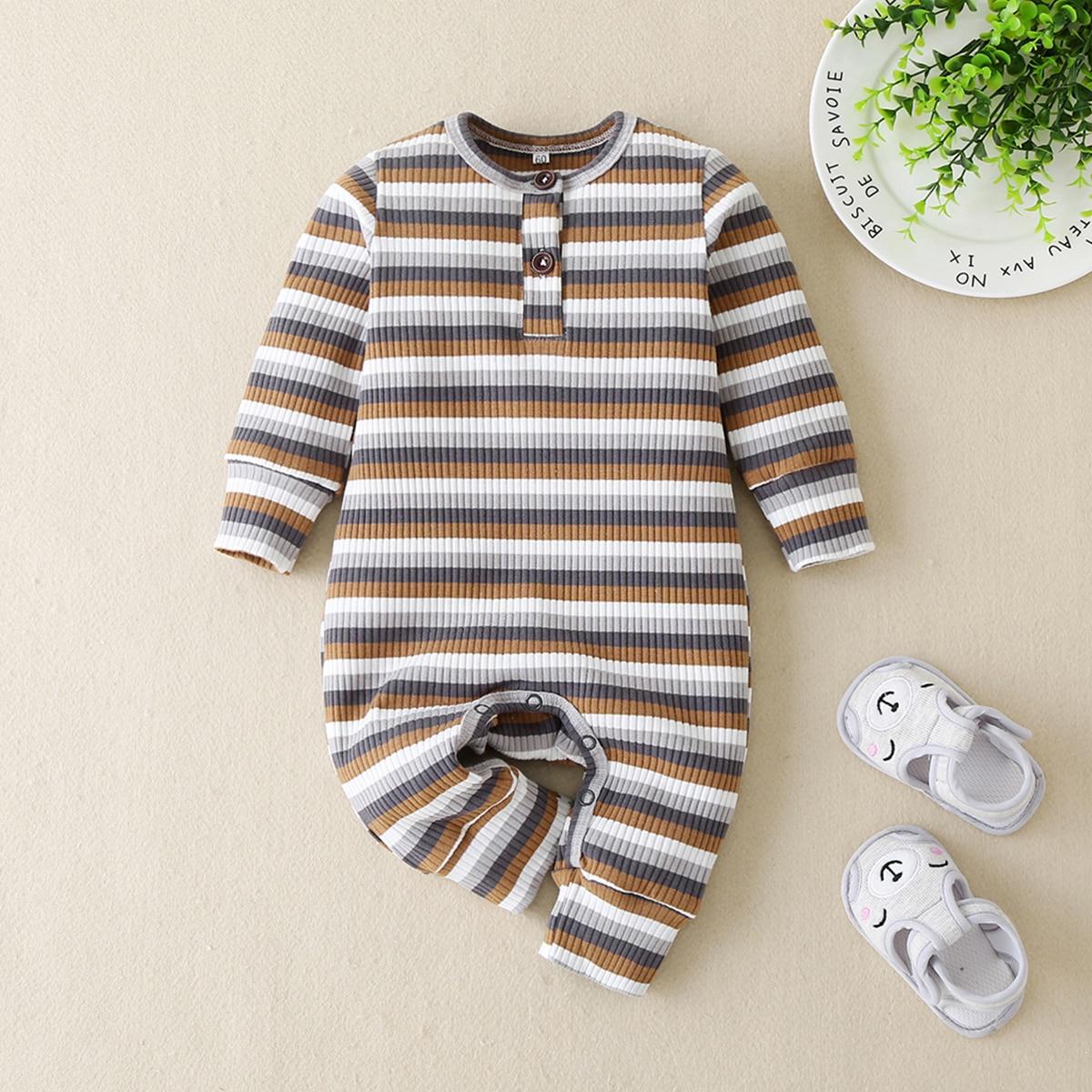 Полосатый вязаный комбинезон-футболка для мальчиков от SHEIN