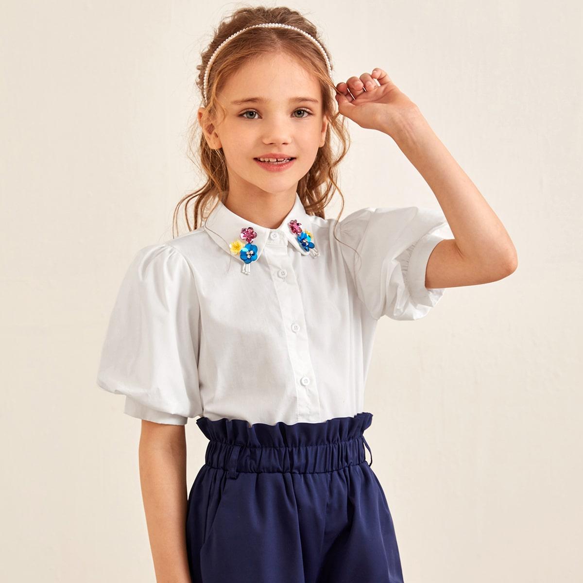 Блуза с пышными рукавами и блестками