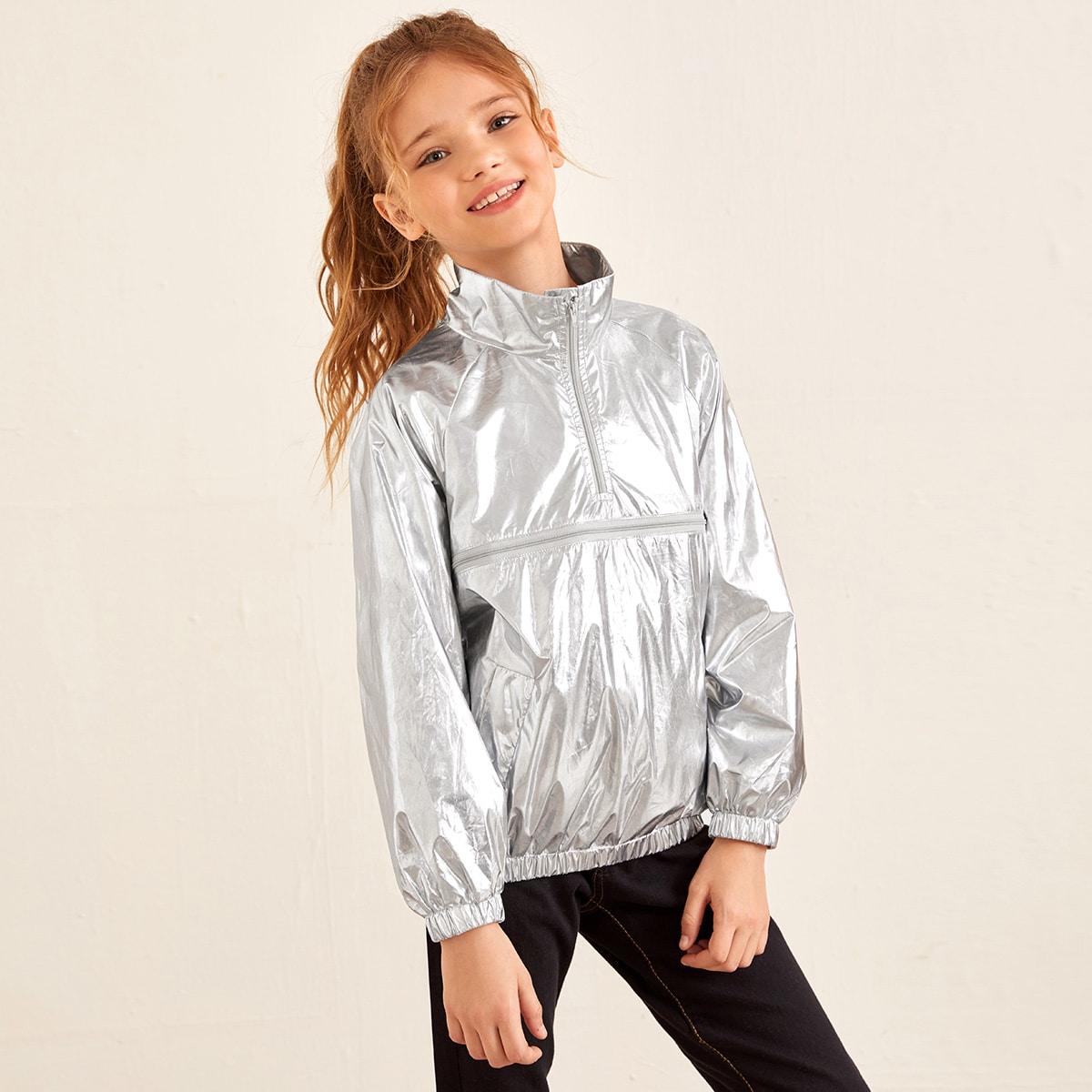 Куртка на молнии с рукавом-регланом для девочек от SHEIN
