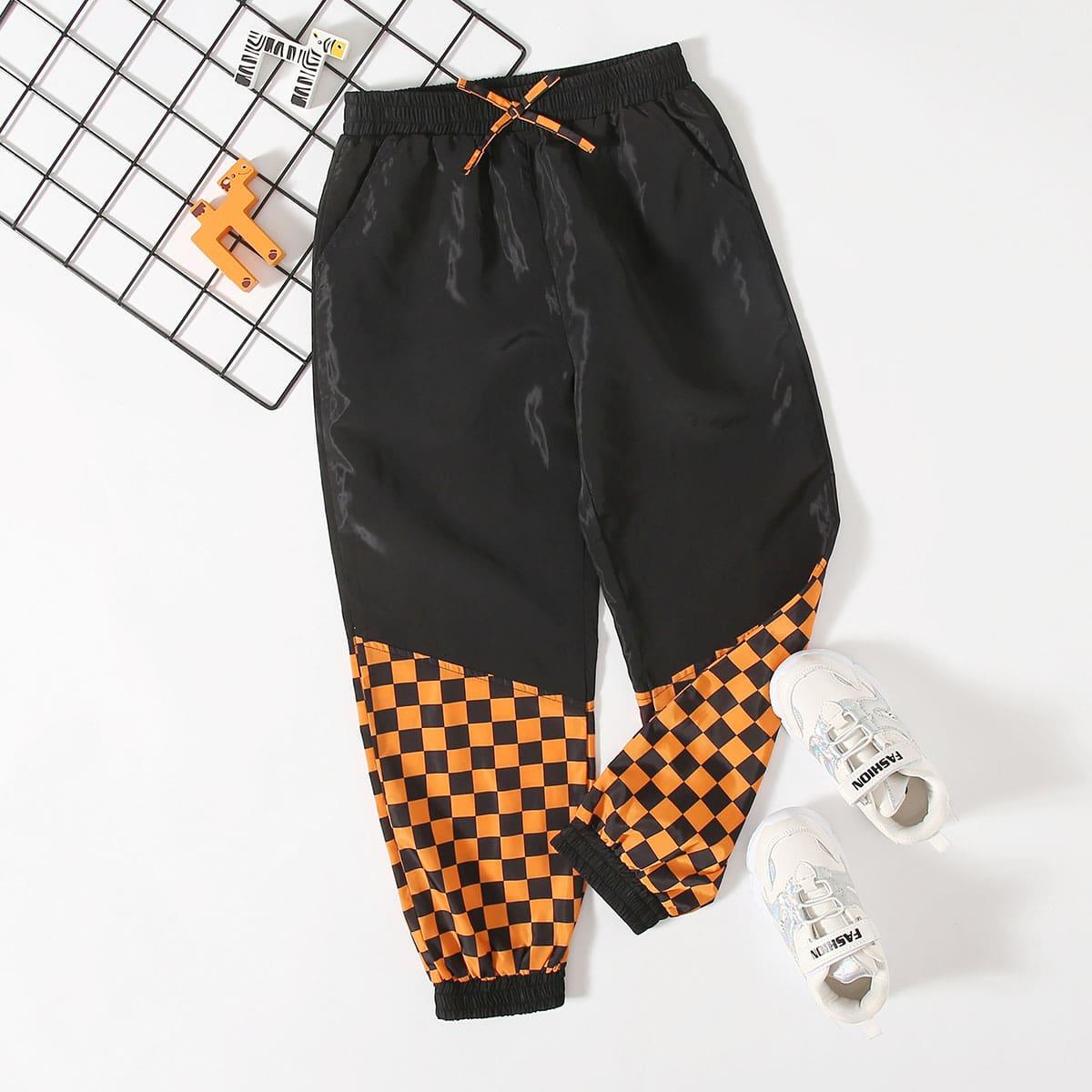 SHEIN / Winddichte Jogginghose mit Schleife vorn und Karo Muster Einsatz