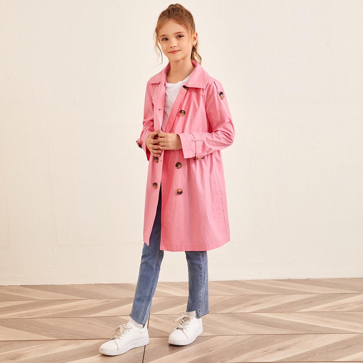 Двубортное пальто с пряжкой для девочек от SHEIN