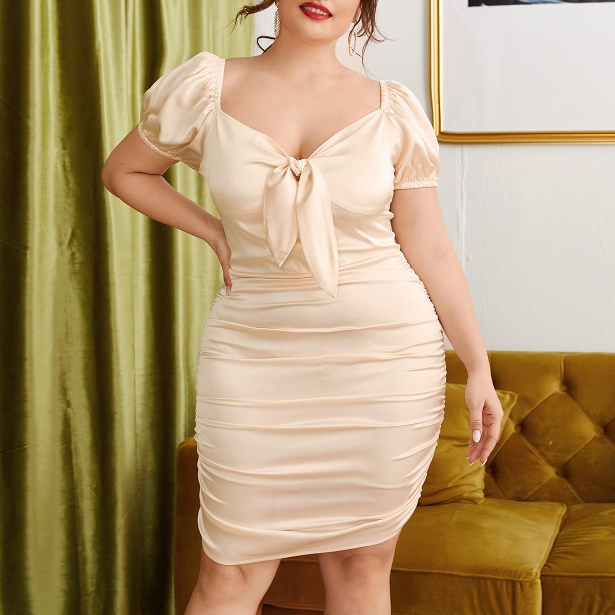 SHEIN / Vestidos Tallas Grandes Drapeado Liso Albaricoque Elegante