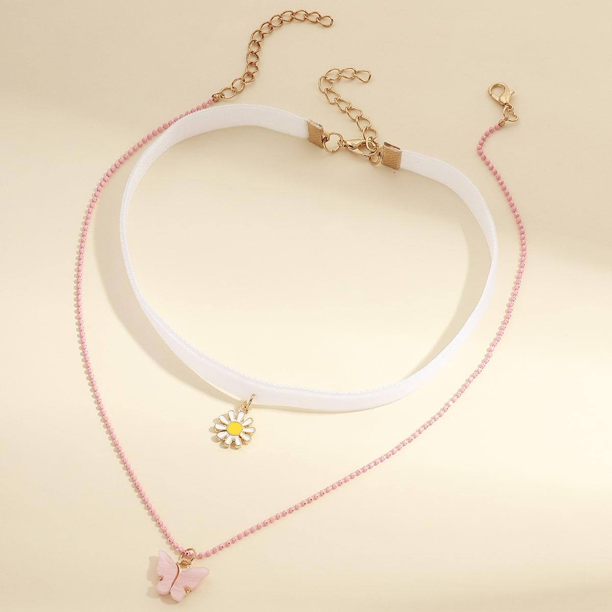 SHEIN / 2 Stücke Mädchen Halskette mit Schmetterling & Gänseblümchen Anhänger