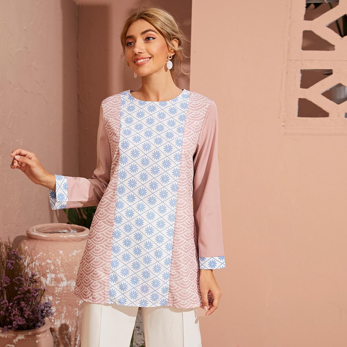 SHEIN / Camisa túnica con estampado floral en contraste