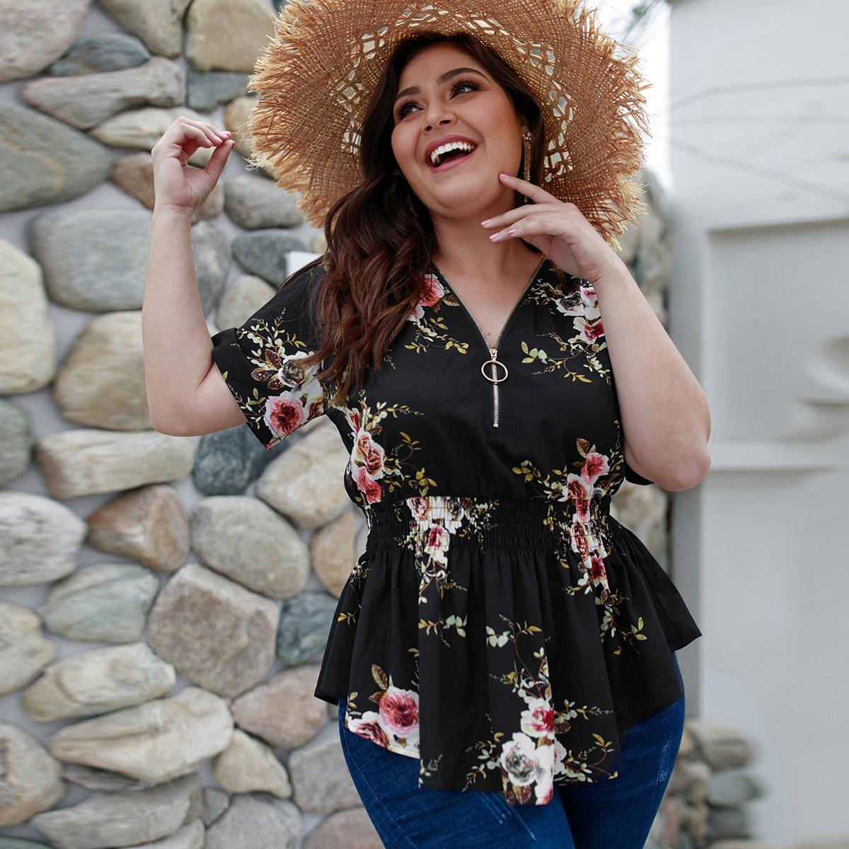 SHEIN / Bluse mit Blumen Muster, O-Ring und halbem Reißverschluss