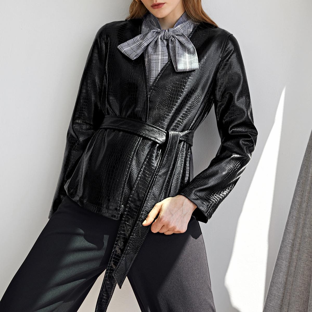 SHEIN / PU Leder Blazer mit Krokodil Muster und Gürtel