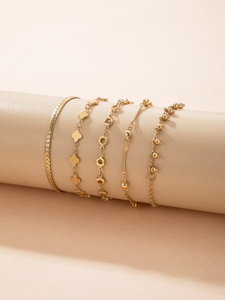 5pcs Clover Decor Bracelet