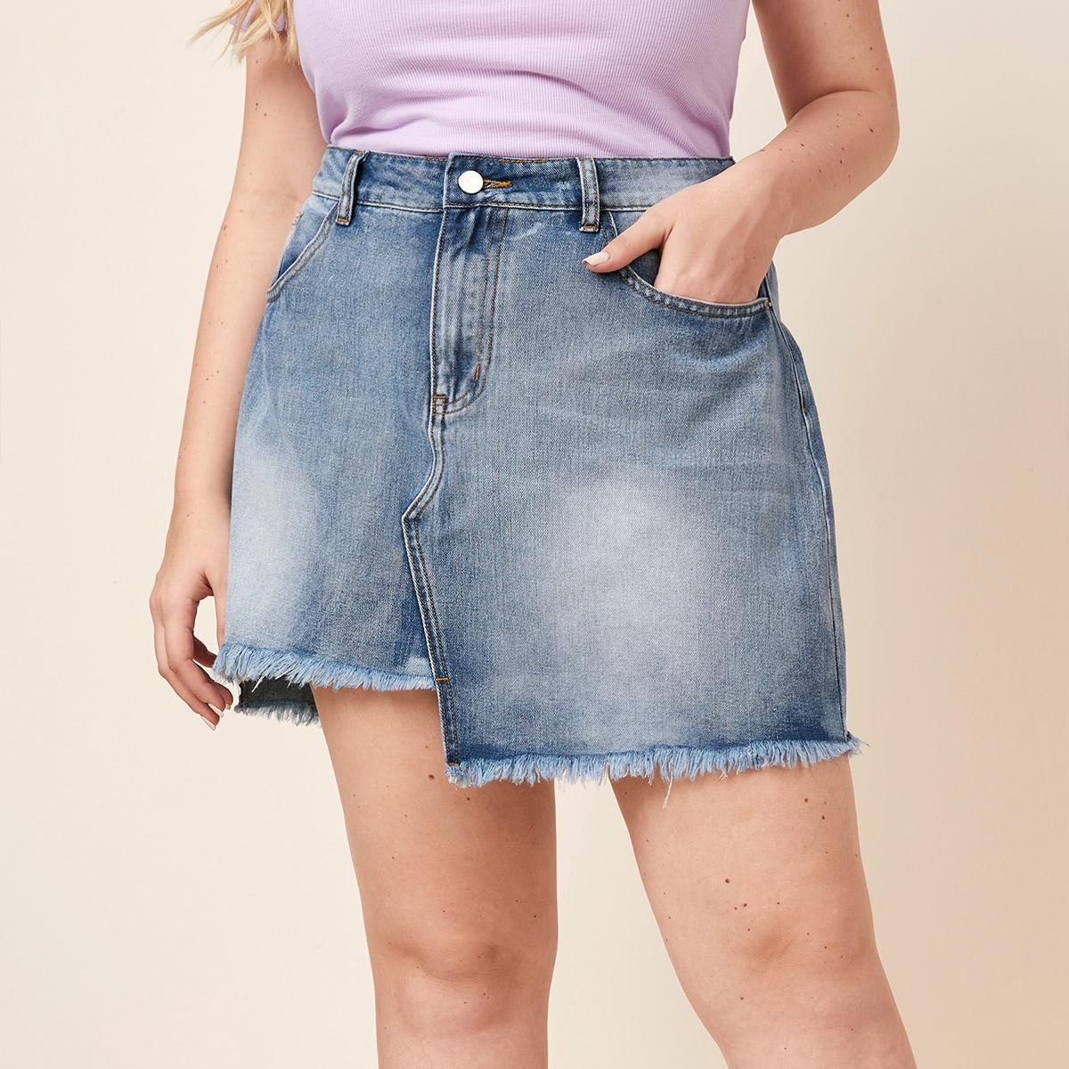 Асимметричная джинсовая юбка размера плюс