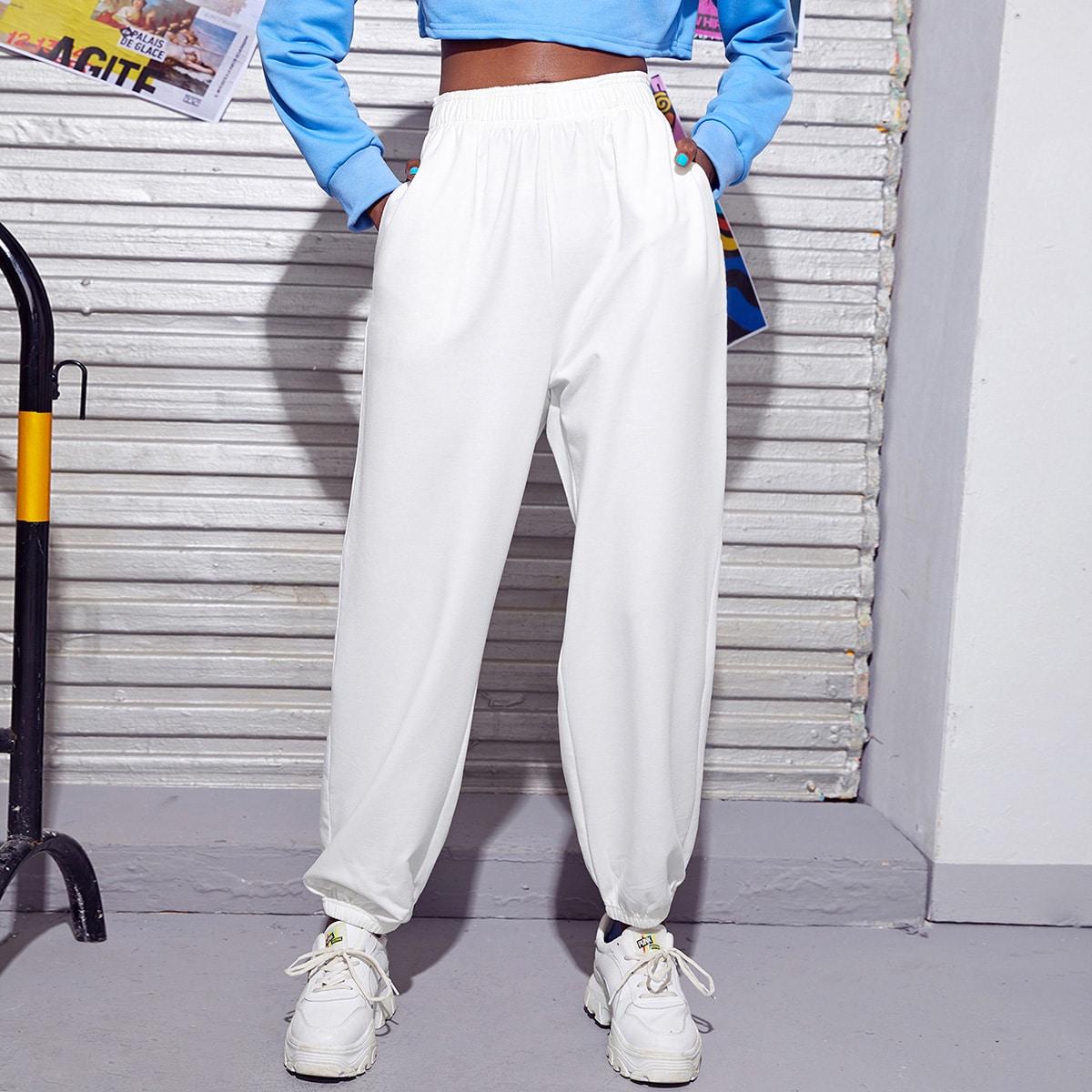 Спортивные брюки с эластичной талией без сумки от SHEIN