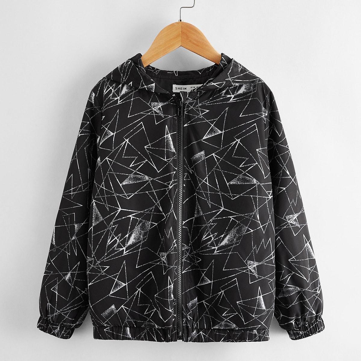 Куртка на молнии с капюшоном и геометрическим принтом для мальчиков от SHEIN