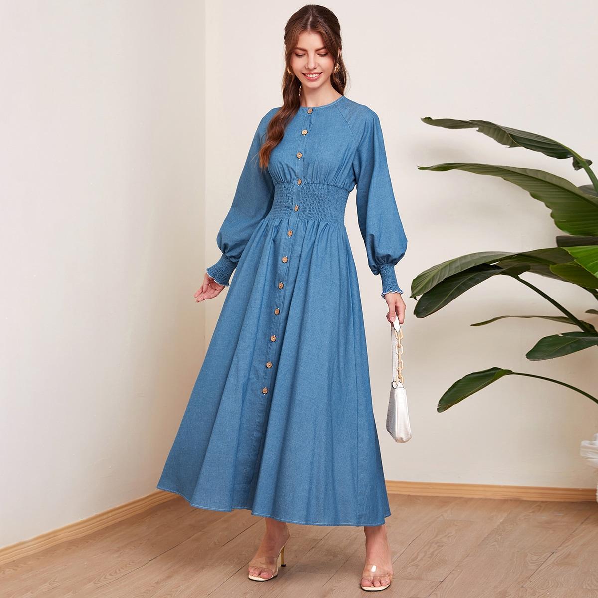 SHEIN / Lantern Sleeve Shirred Waist Button Front Dress