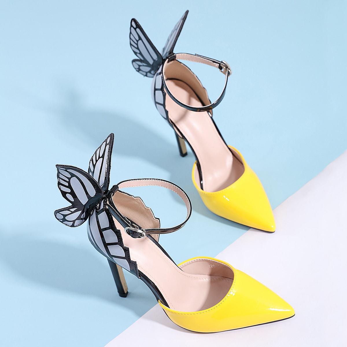 Остроконечные туфли на шпильках с бабочкой