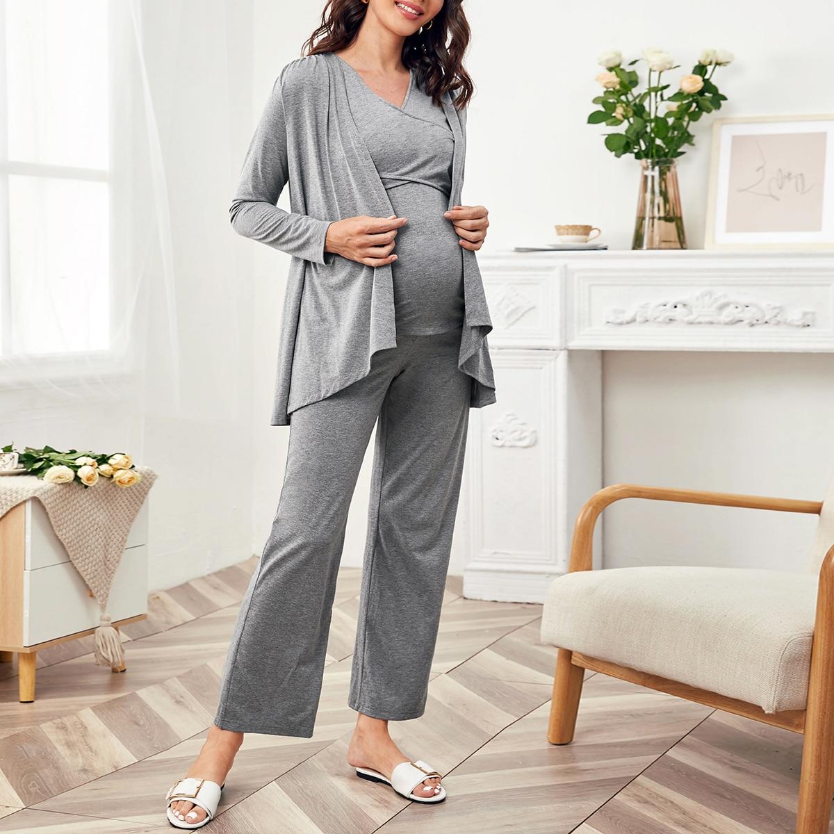Майка на запах и широкие брюки и пальто для беременных от SHEIN