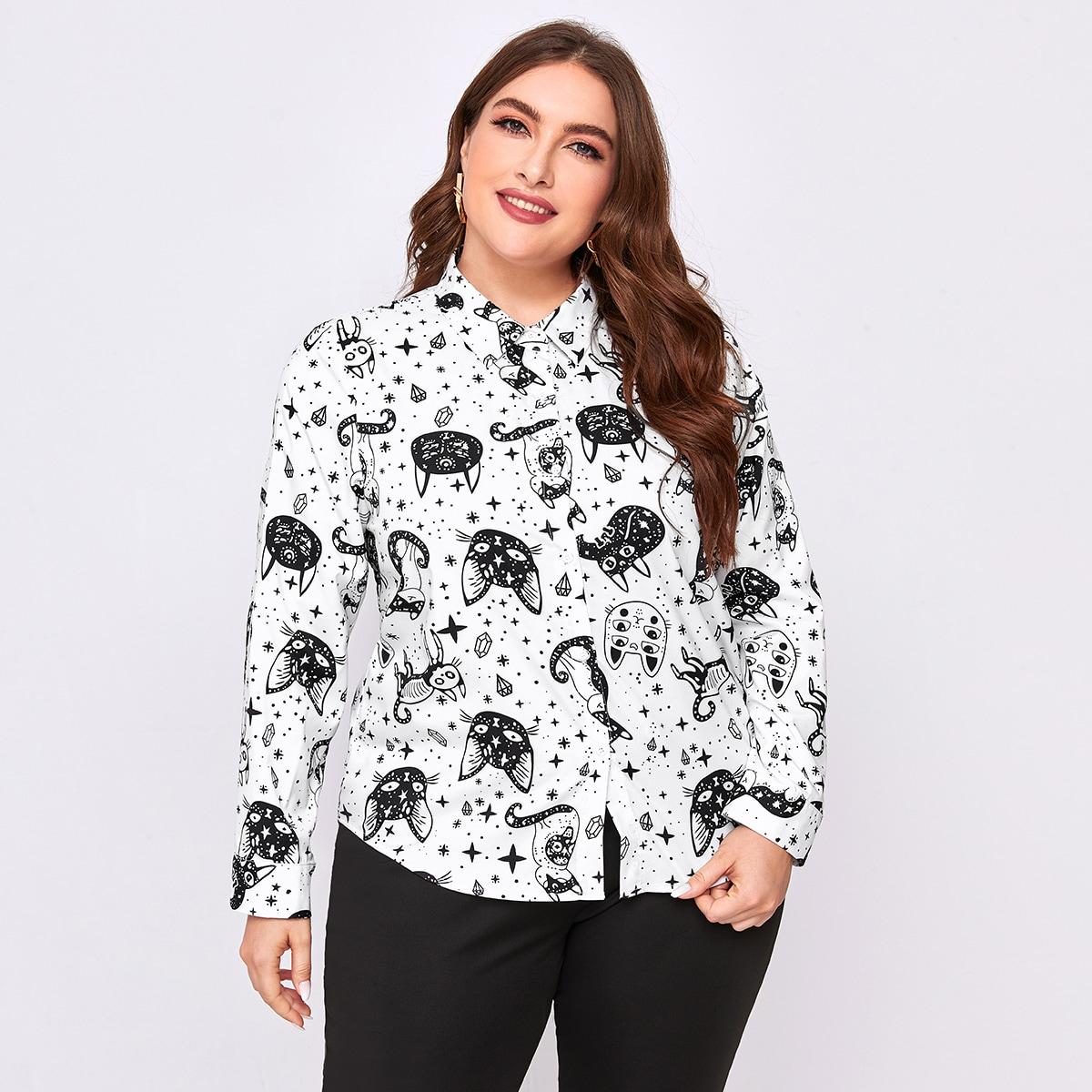 SHEIN / Bluse mit Karikatur Grafik und Knöpfen