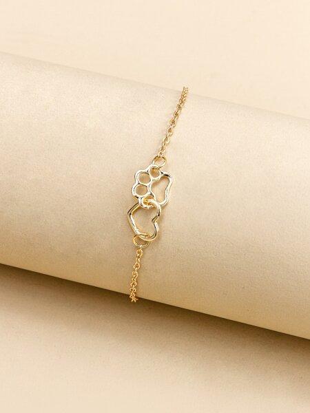 Hollow Out Heart Chain Bracelet