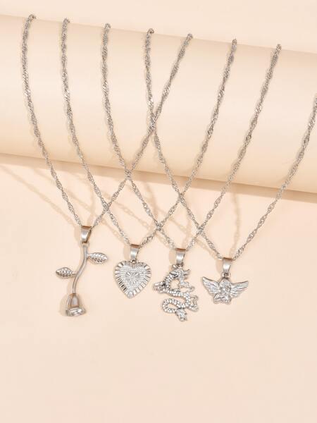4pcs Minimalist Pendant Necklace