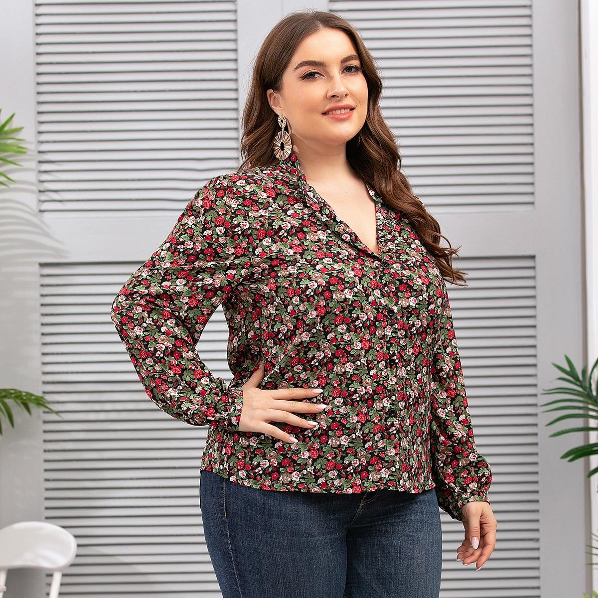SHEIN / Bluse mit Blümchen Muster und Stehkragen