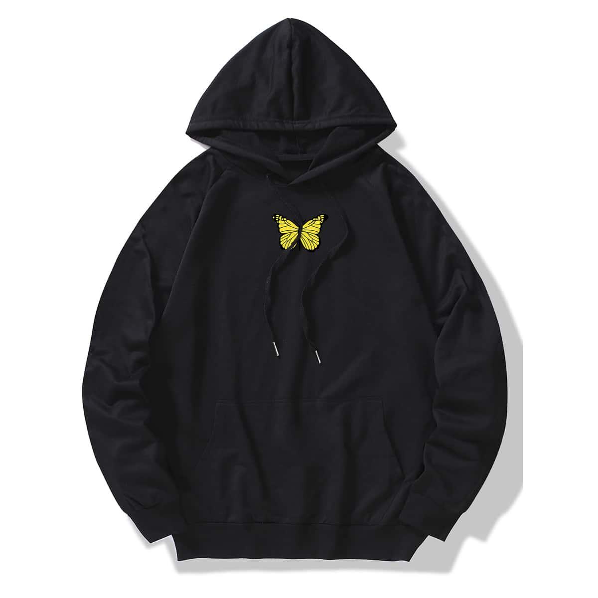 SHEIN / Men Butterfly Print Kangaroo Pocket Drawstring Hoodie