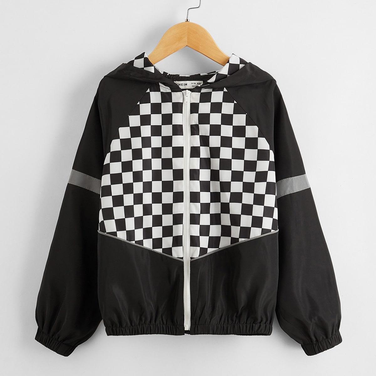 Куртка в клетку с рукавом-регланом для девочек от SHEIN