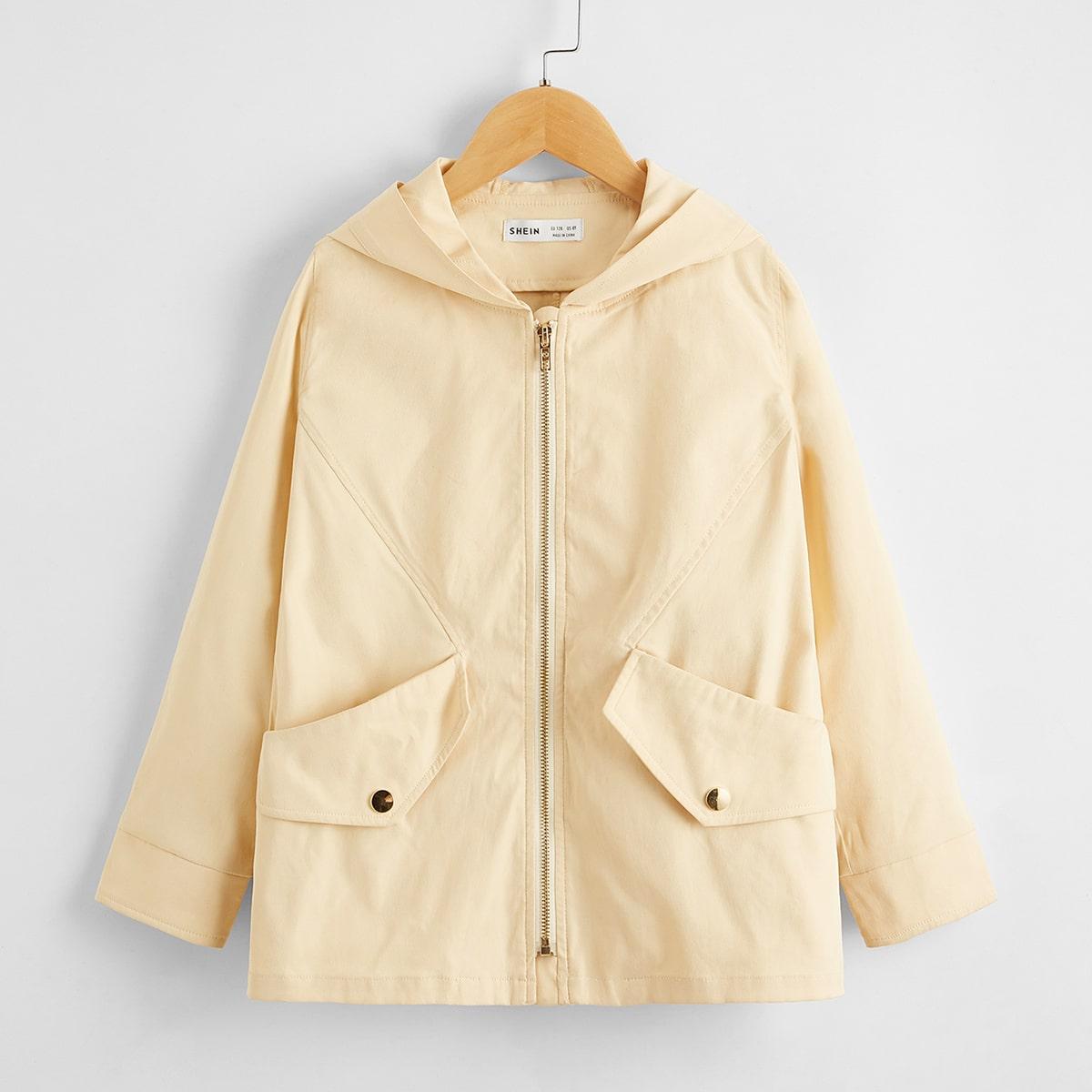 Куртка на молнии с карманом для девочек от SHEIN