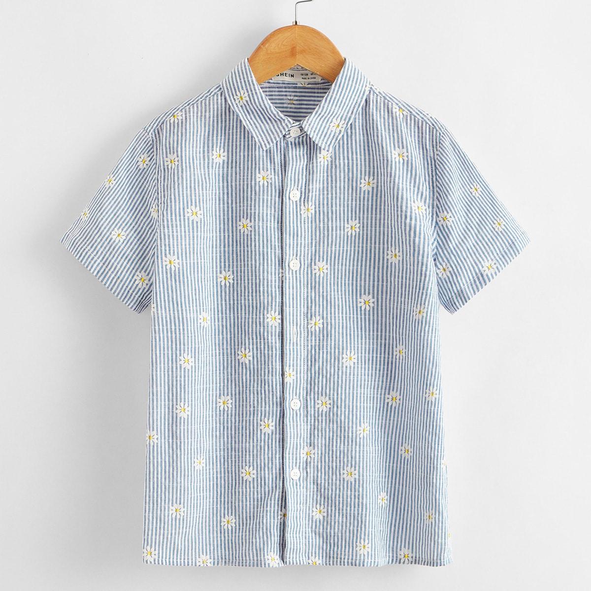 Полосатая рубашка с цветочным принтом для мальчиков от SHEIN