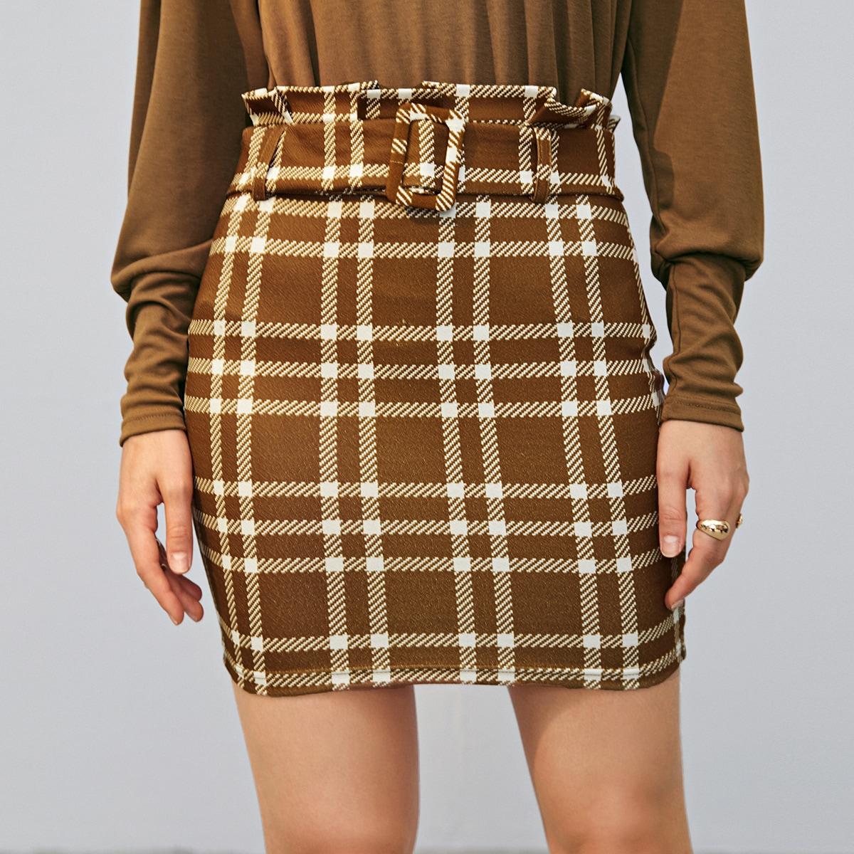 SHEIN / Mini Rock mit Papiertasche um die Taille, Gürtel und Karo Muster