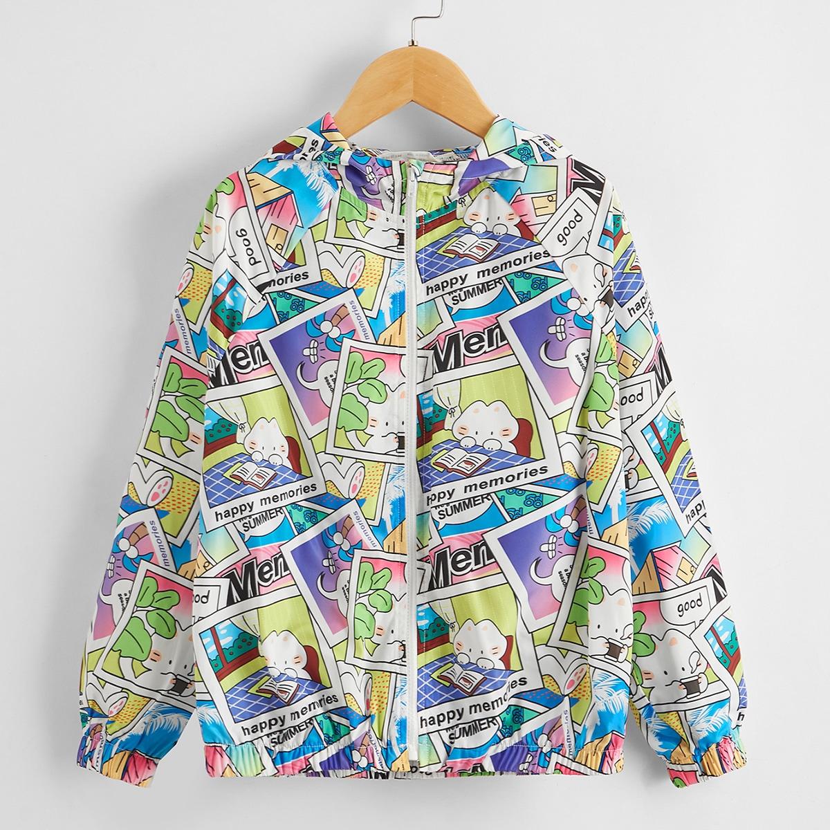 Куртка с капюшоном и мультипликационным рисунком для девочек от SHEIN