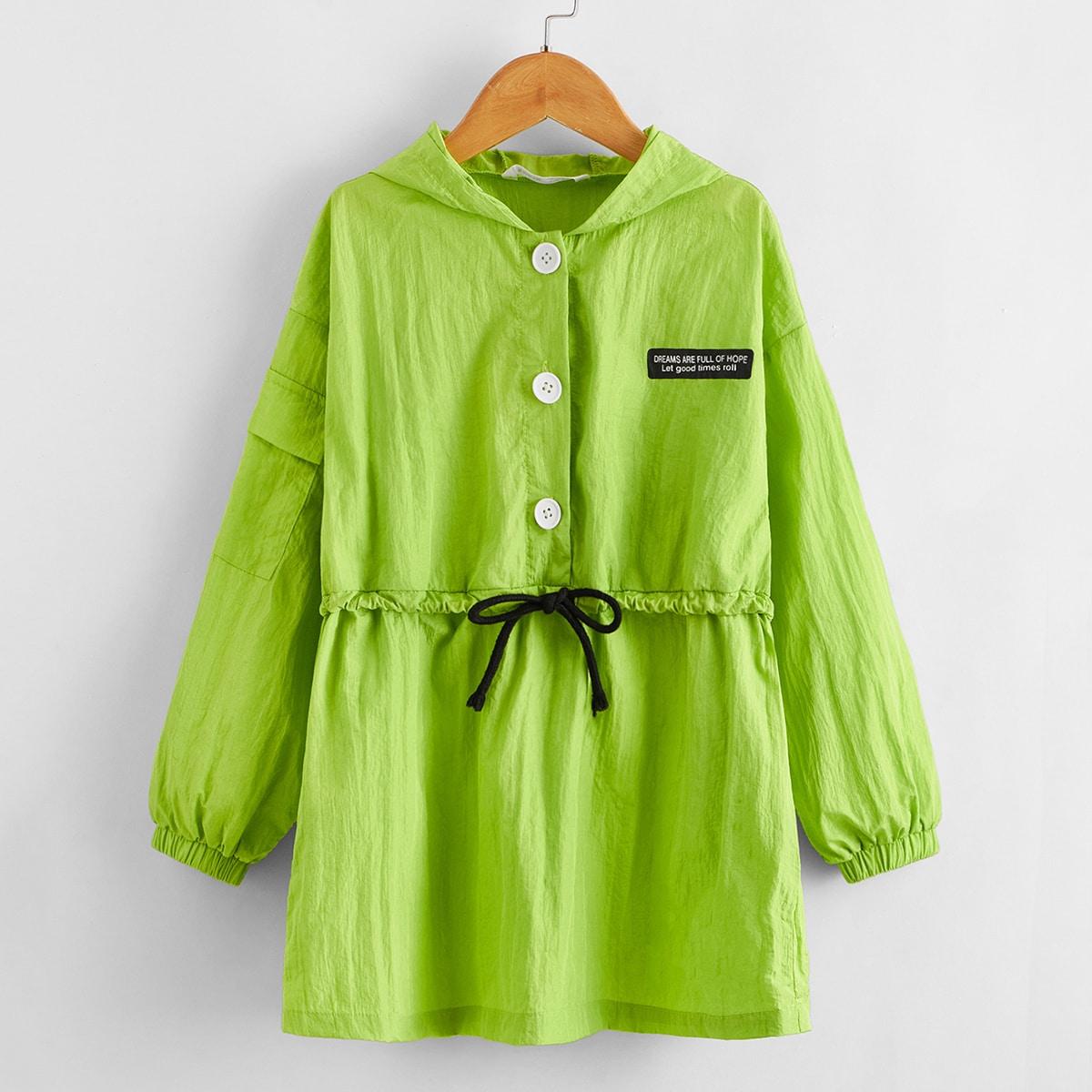 Куртка с карманом и текстовым принтом цвета неонового лайма для девочек от SHEIN