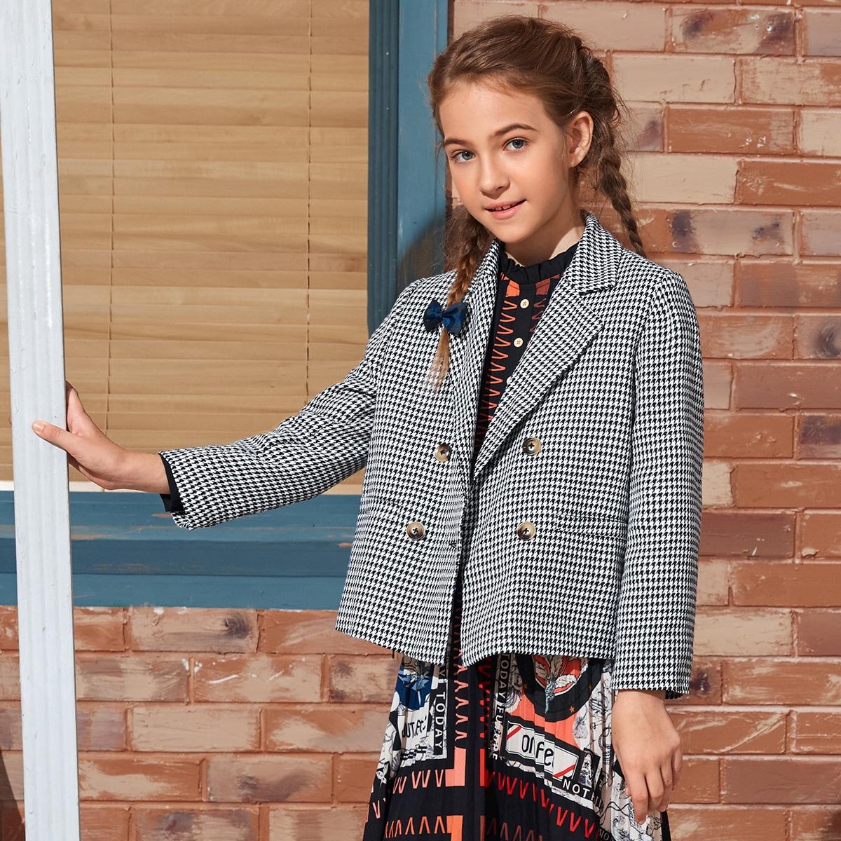Пиджак с узором хаундстута и пуговицами для девочек от SHEIN