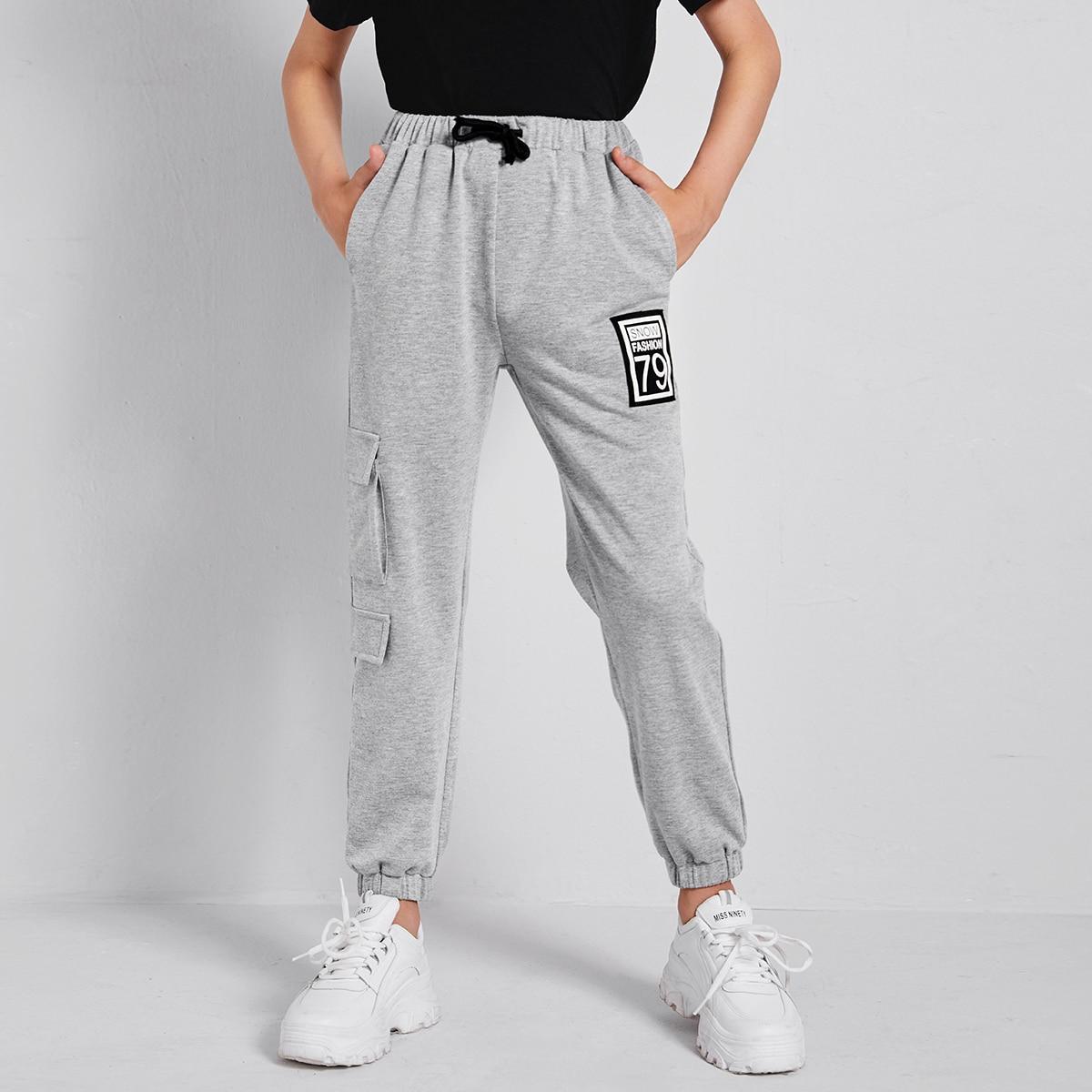 Спортивные брюки с карманом и текстовой заплатой для мальчиков от SHEIN