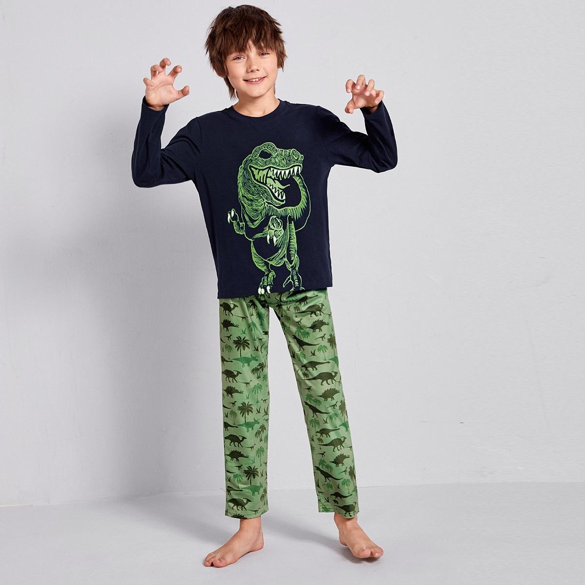 Пижама с принтом динозавра для мальчиков от SHEIN