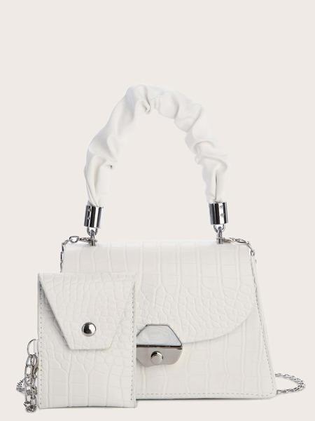 2pcs Croc Embossed Bag Set