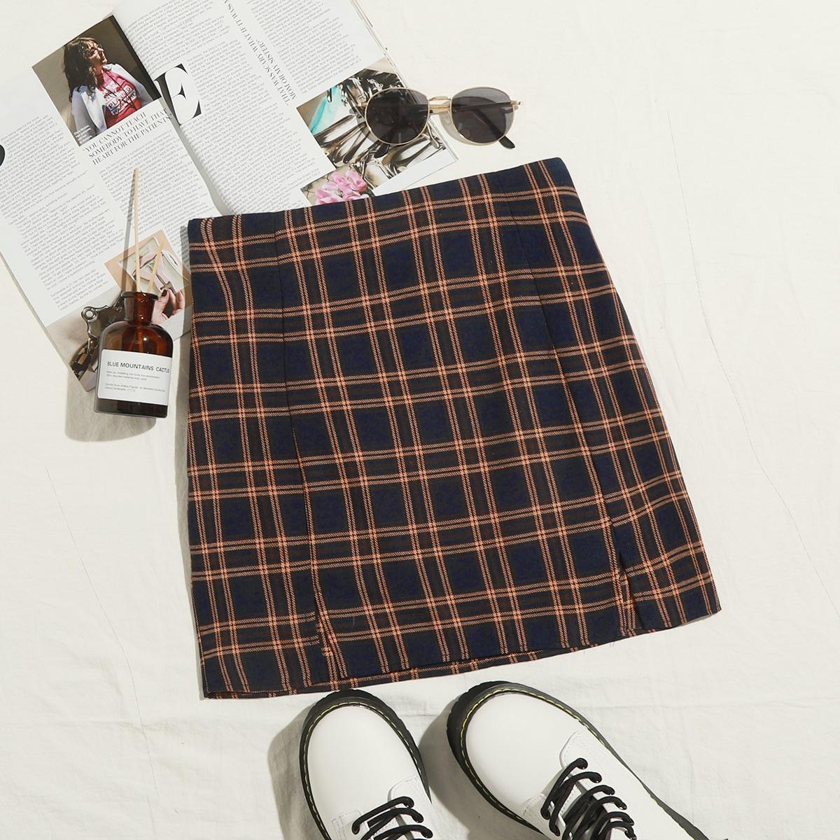 SHEIN / Zipper Side M-split Hem Plaid Skirt
