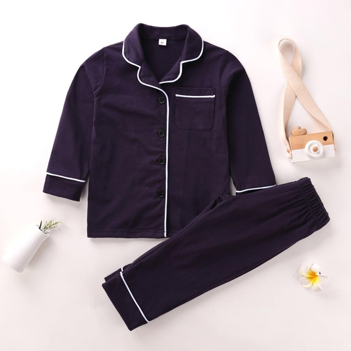Темно-синий с карманами Повседневный Домашняя одежда для мальчиков от SHEIN