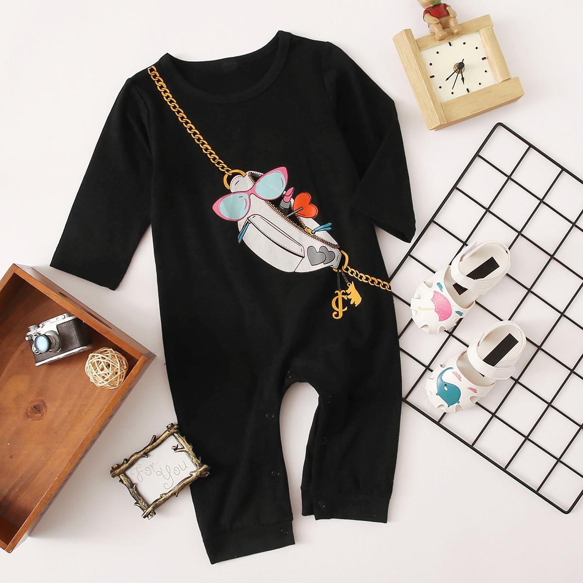 Черный графический принт Повседневный Боди для малышей от SHEIN