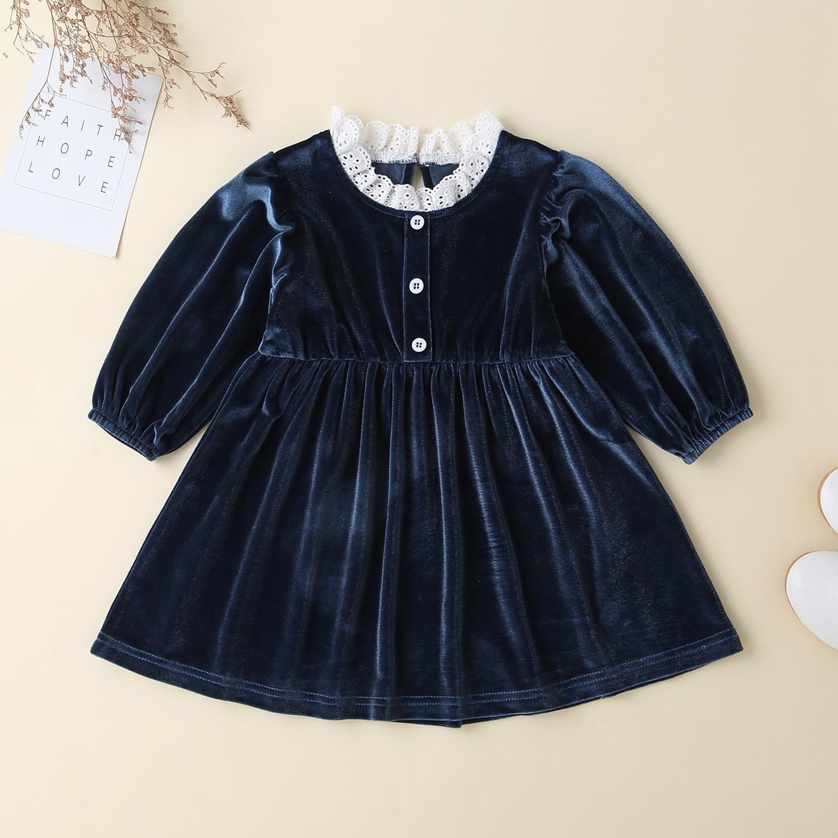 Оборка Очаровательный Платья для малышей от SHEIN