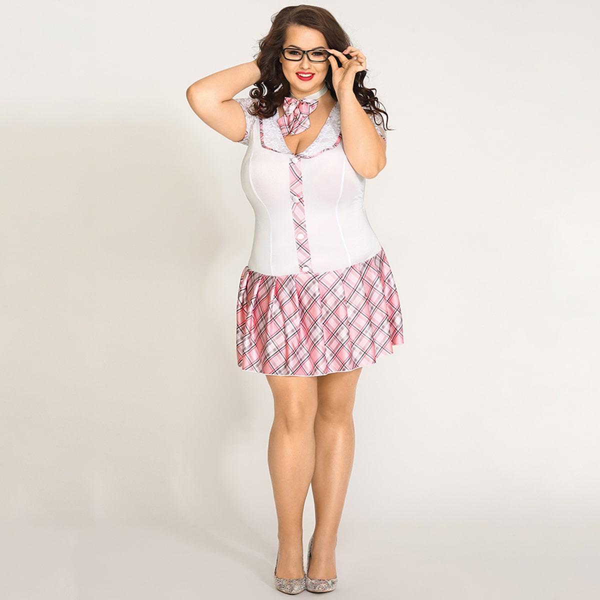 SHEIN / 4pack Plus Plaid Button Front School Costume Set
