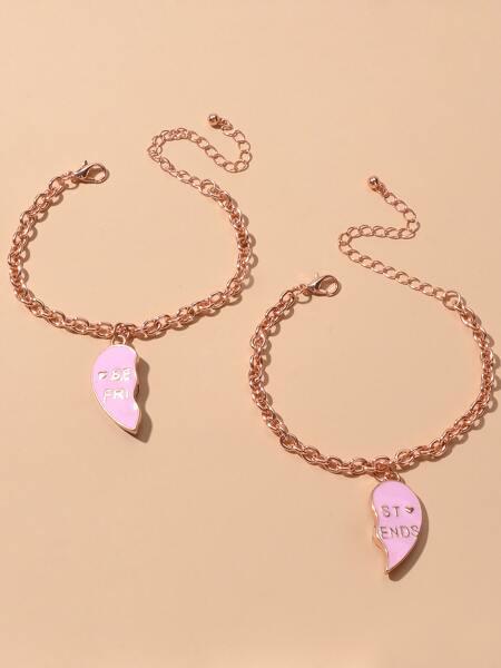 2pcs Heart Charm Chain Bracelet
