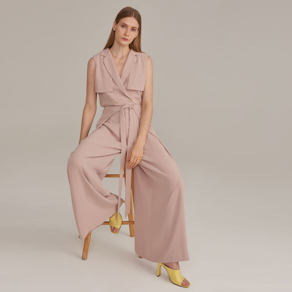 Notched Collar Buttoned Trench Coat & Wrap Tie Front Wide Leg Pants Set