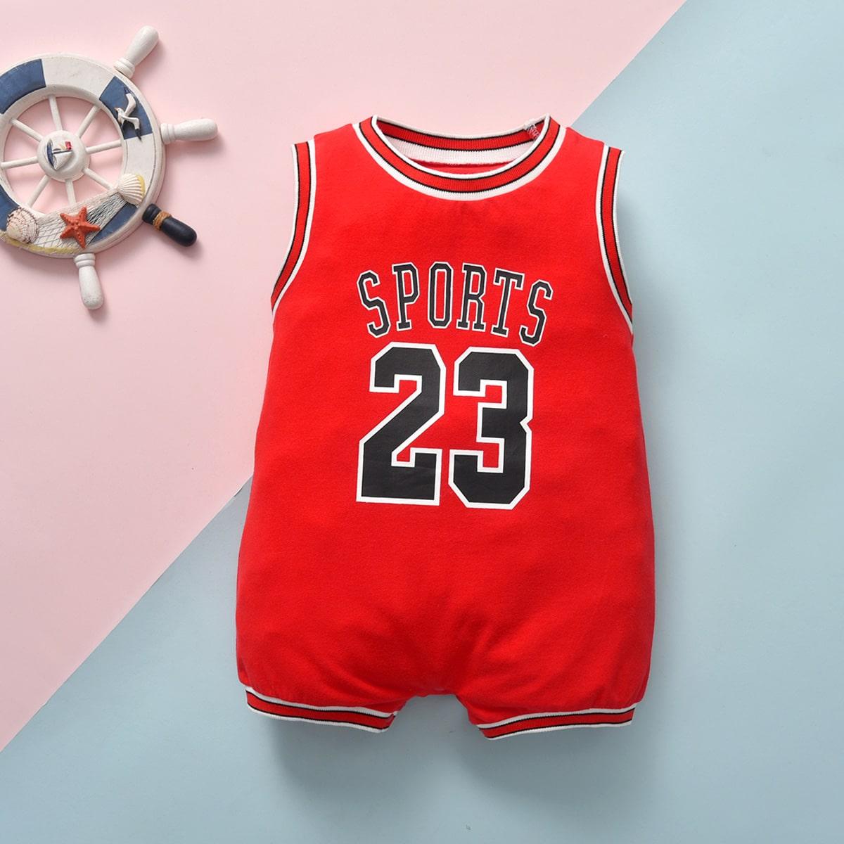 Красный лента Полосатый Спортивный Боди для малышей