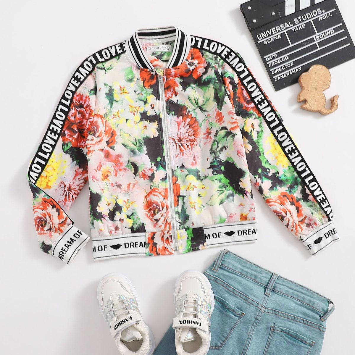 Жакет-бомбер с цветочным принтом и текстовой лентой для девочек от SHEIN