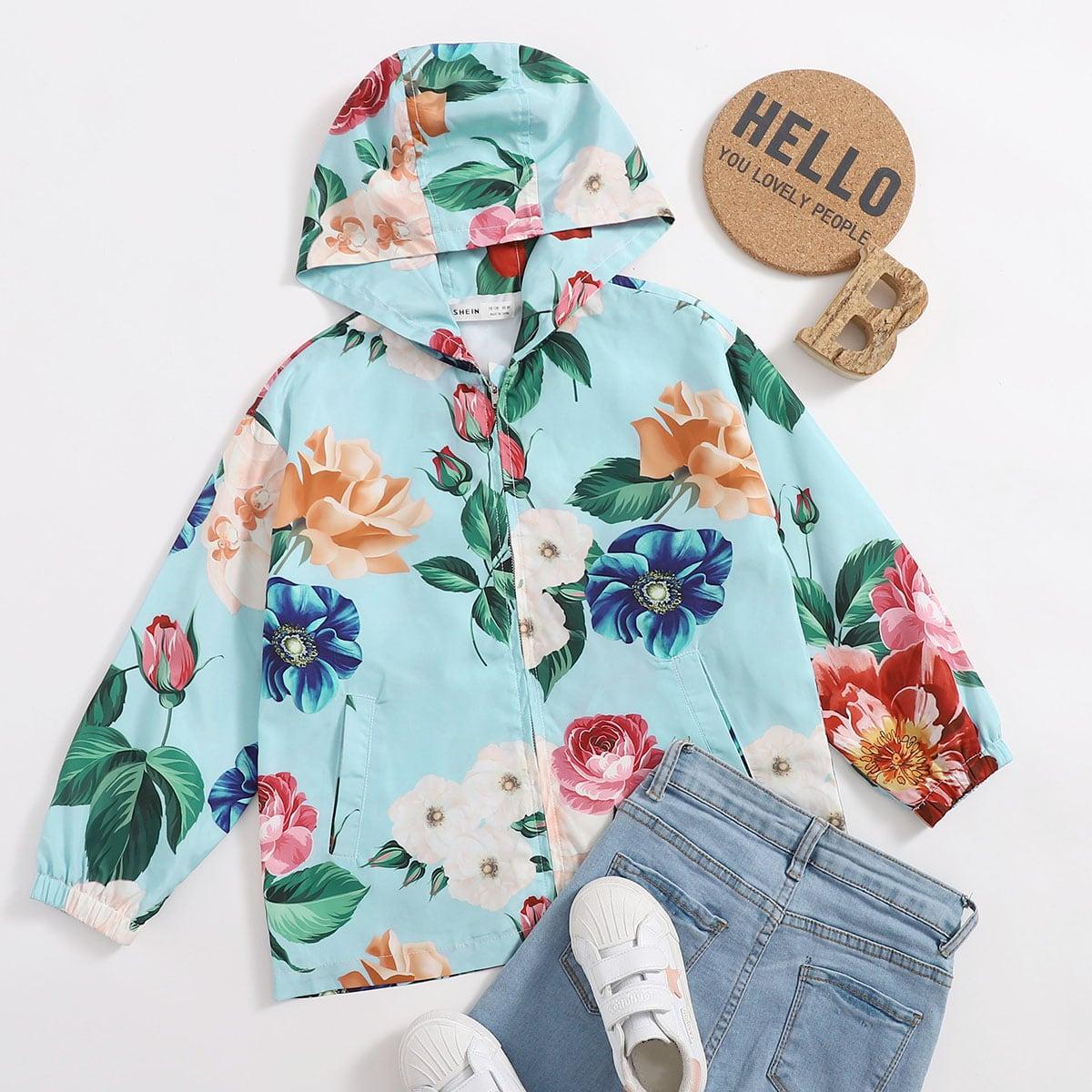 Куртка с цветочным принтом для девочек от SHEIN