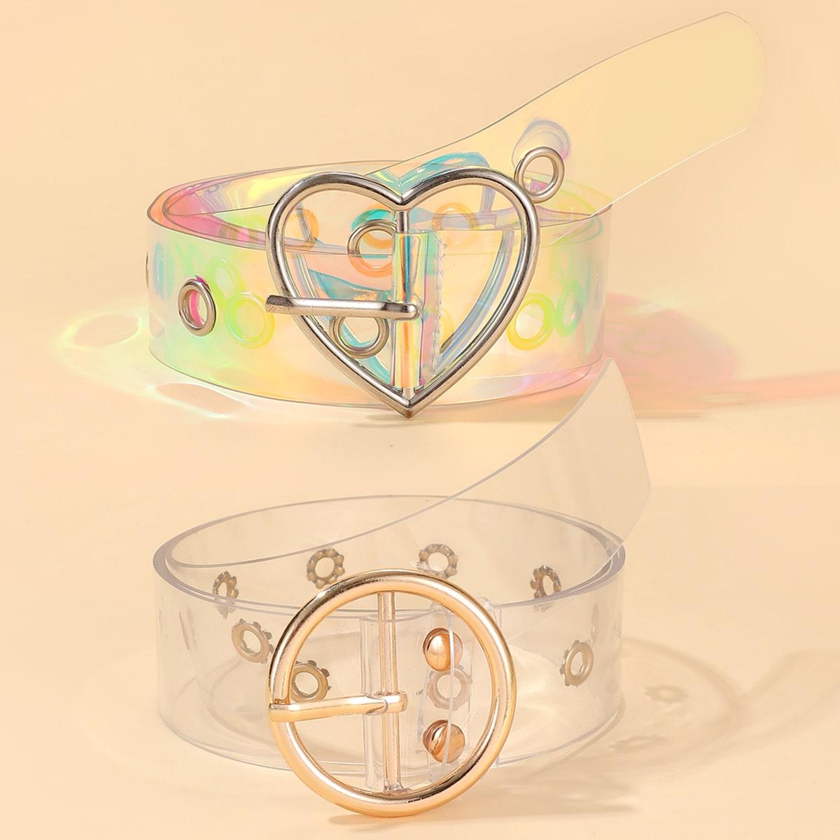 SHEIN / 2 Stücke Transparenter Gürtel mit Herzen Dekor und Schnalle