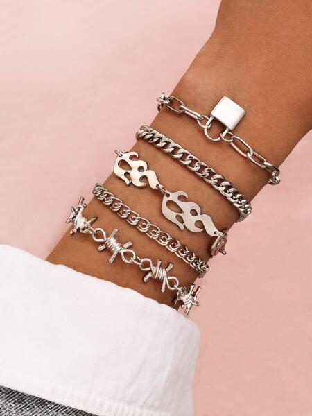 5pcs Flame & Thorn Decor Chain Bracelet