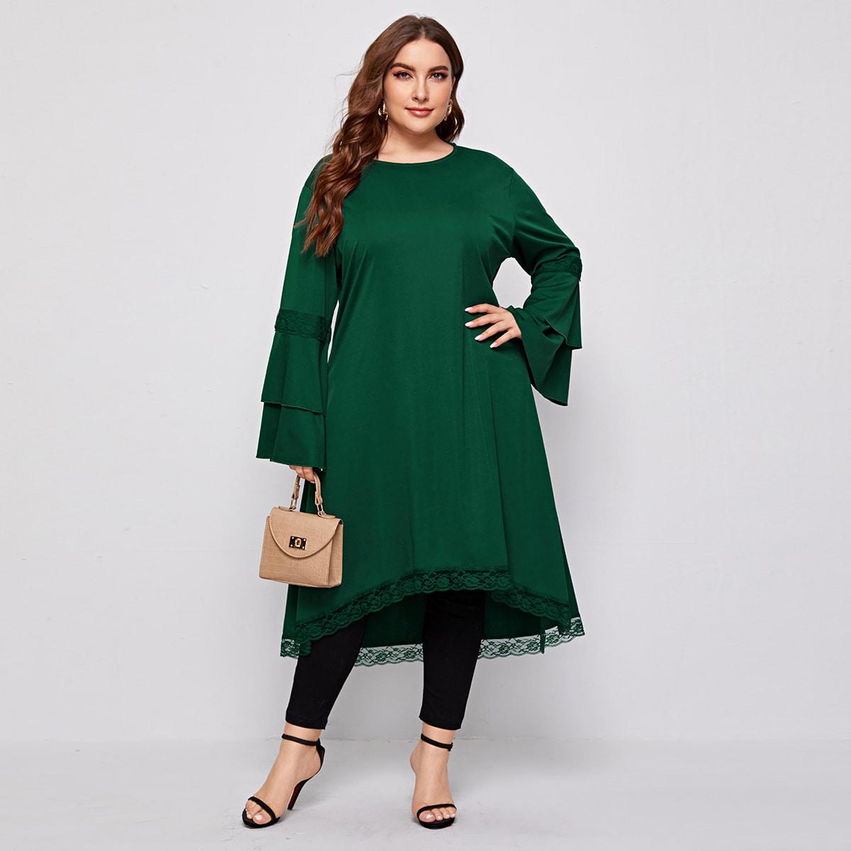 SHEIN / Blusas Extra Grandes Encaje en contraste Liso Elegante